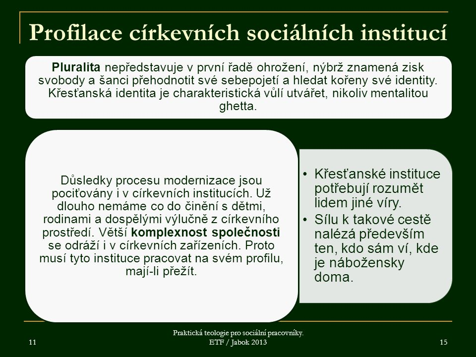 11 Praktická teologie pro sociální pracovníky. ETF / Jabok 2013 15 Profilace církevních sociálních institucí Pluralita nepředstavuje v první řadě ohro