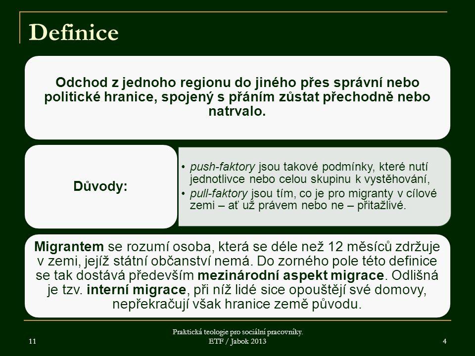 11 Praktická teologie pro sociální pracovníky. ETF / Jabok 2013 4 Definice Odchod z jednoho regionu do jiného přes správní nebo politické hranice, spo