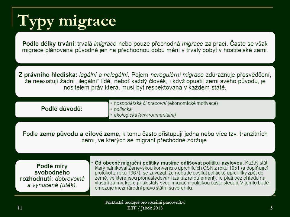 11 Praktická teologie pro sociální pracovníky. ETF / Jabok 2013 5 Typy migrace Podle délky trvání: trvalá imigrace nebo pouze přechodná migrace za pra