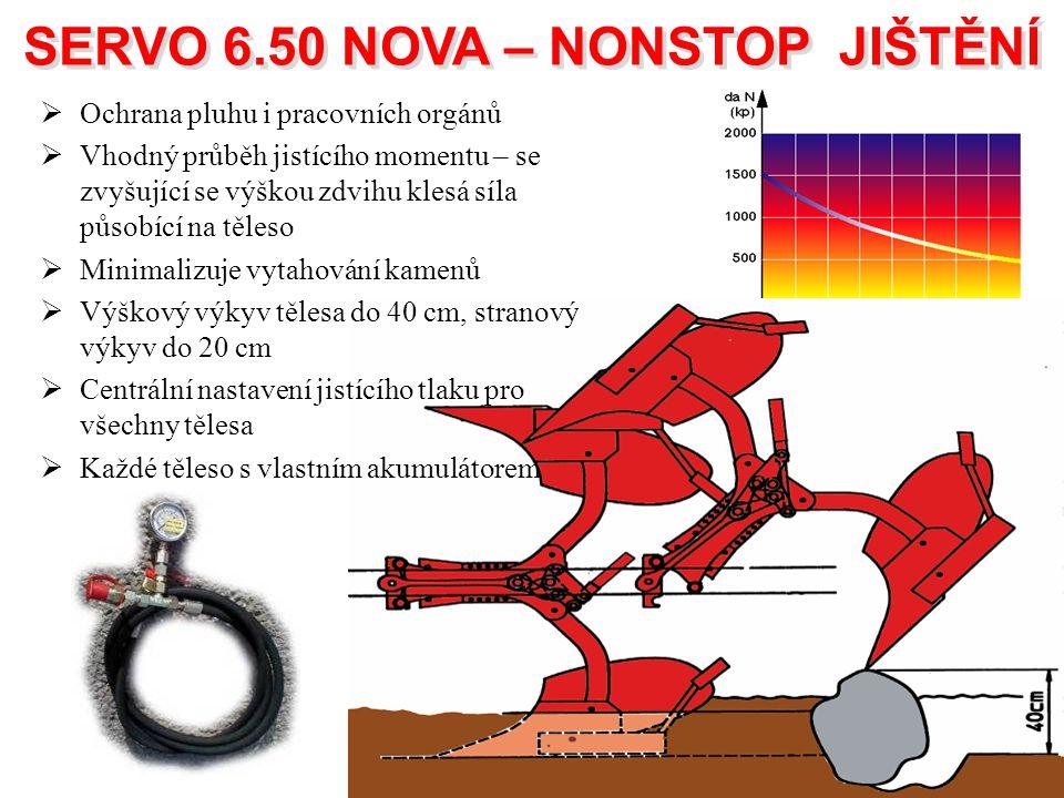 SERVO 6.50 NOVA – NONSTOP JIŠTĚNÍ SERVO 6.50 NOVA – NONSTOP JIŠTĚNÍ  Ochrana pluhu i pracovních orgánů  Vhodný průběh jistícího momentu – se zvyšují