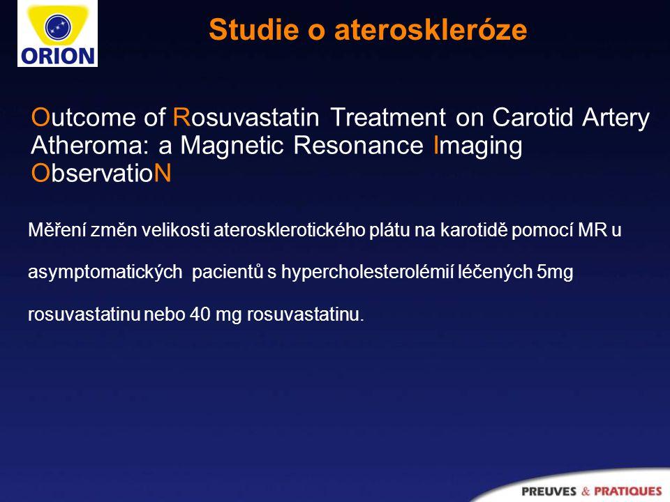 Studie o ateroskleróze Měření změn velikosti aterosklerotického plátu na karotidě pomocí MR u asymptomatických pacientů s hypercholesterolémií léčených 5mg rosuvastatinu nebo 40 mg rosuvastatinu.