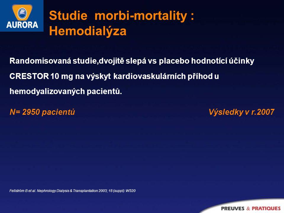 Randomisovaná studie,dvojitě slepá vs placebo hodnotící účinky CRESTOR 10 mg na výskyt kardiovaskulárních příhod u hemodyalizovaných pacientů.