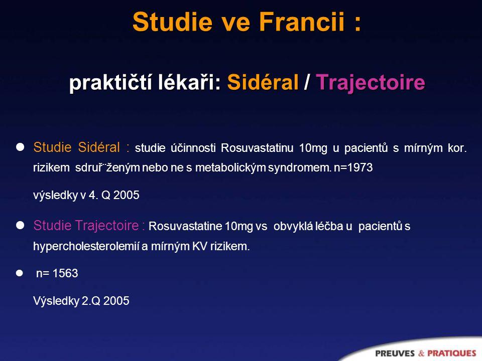 Studie Sidéral : studie účinnosti Rosuvastatinu 10mg u pacientů s mírným kor.