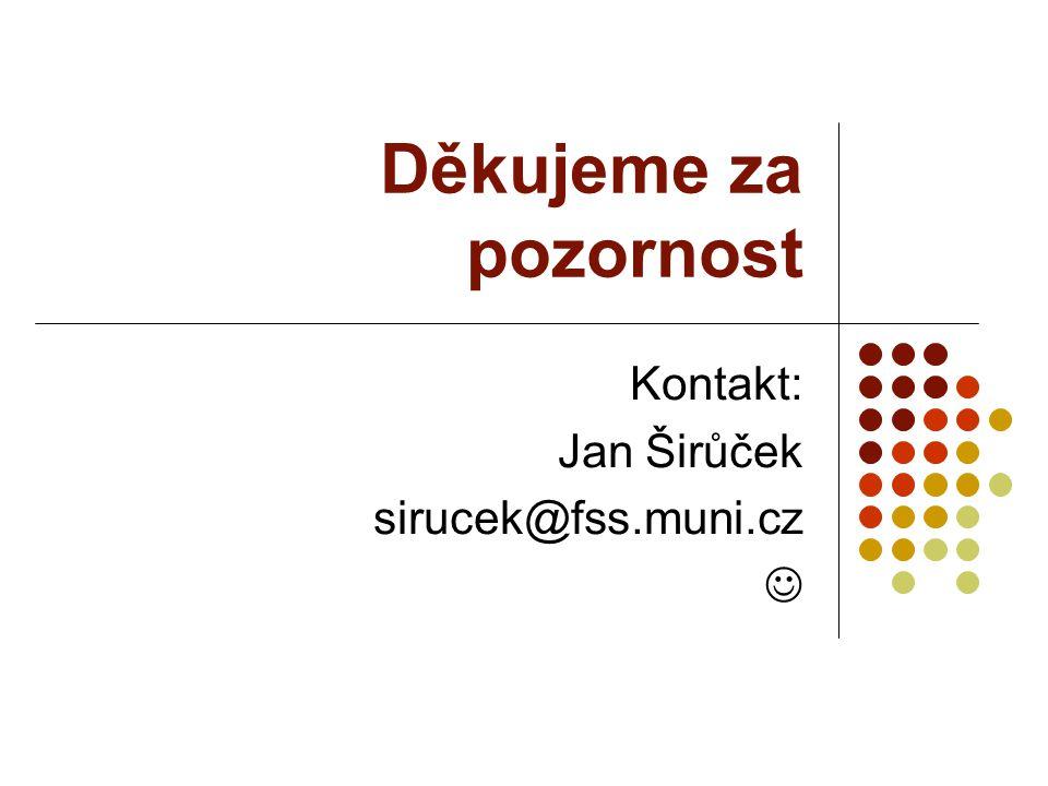Děkujeme za pozornost Kontakt: Jan Širůček sirucek@fss.muni.cz