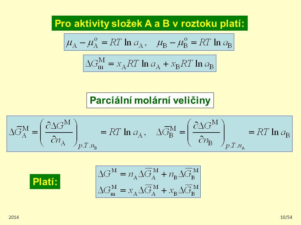 201410/54 Parciální molární veličiny Platí: Pro aktivity složek A a B v roztoku platí: