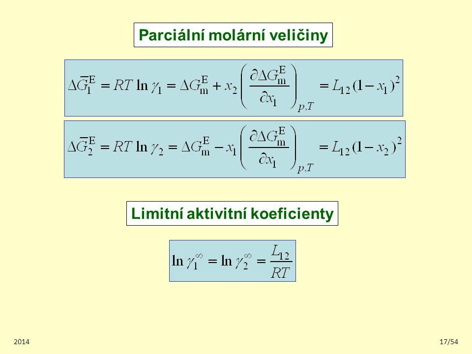 201417/54 Parciální molární veličiny Limitní aktivitní koeficienty