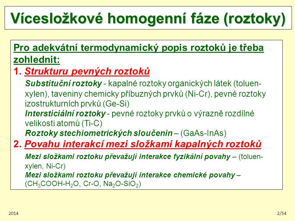 20142/54 Vícesložkové homogenní fáze (roztoky) Pro adekvátní termodynamický popis roztoků je třeba zohlednit: 1. Strukturu pevných roztoků Substituční
