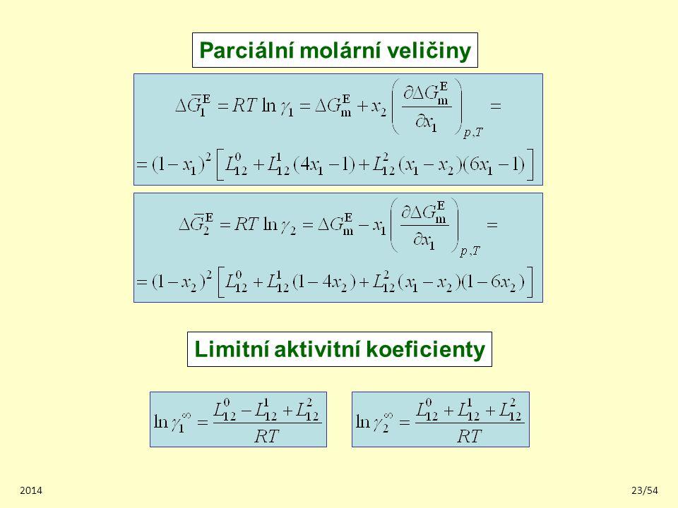 201423/54 Parciální molární veličiny Limitní aktivitní koeficienty