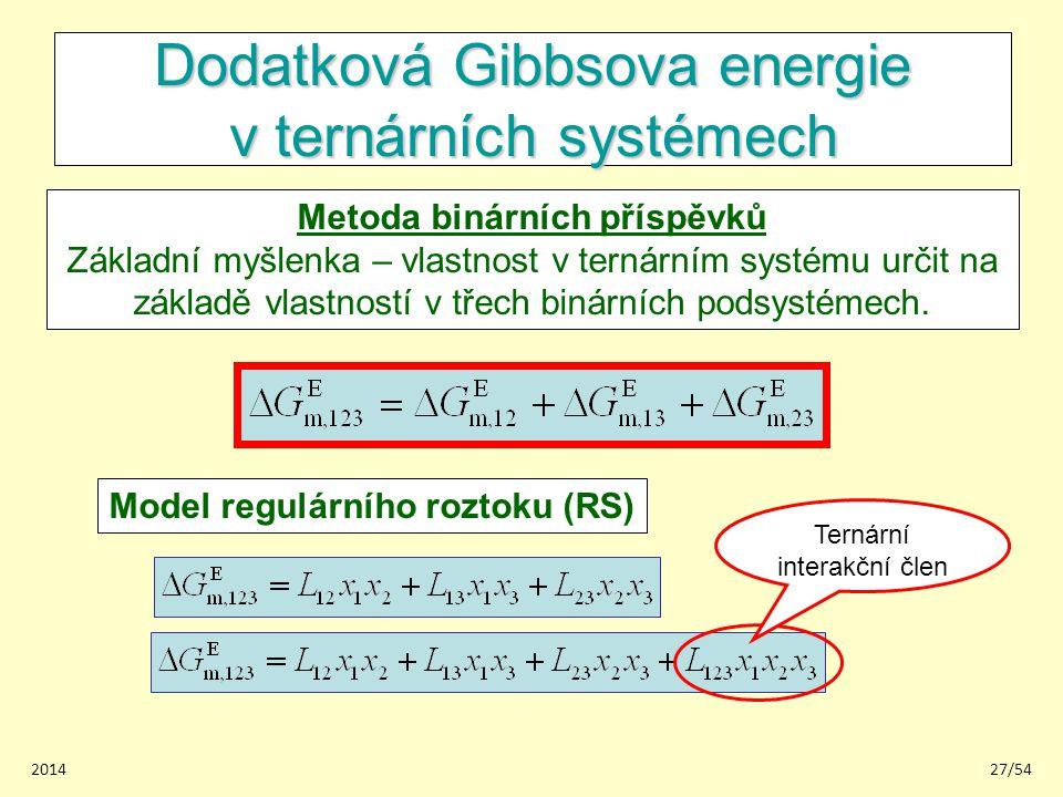 201427/54 Dodatková Gibbsova energie v ternárních systémech Metoda binárních příspěvků Základní myšlenka – vlastnost v ternárním systému určit na zákl
