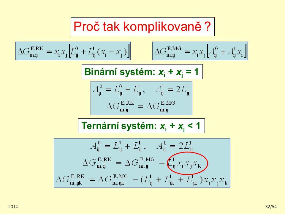 201432/54 Proč tak komplikovaně ? Binární systém: x i + x j = 1 Ternární systém: x i + x j < 1