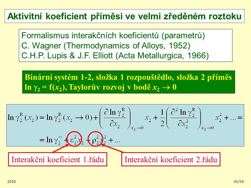 201441/54 Aktivitní koeficient příměsi ve velmi zředěném roztoku Formalismus interakčních koeficientů (parametrů) C. Wagner (Thermodynamics of Alloys,