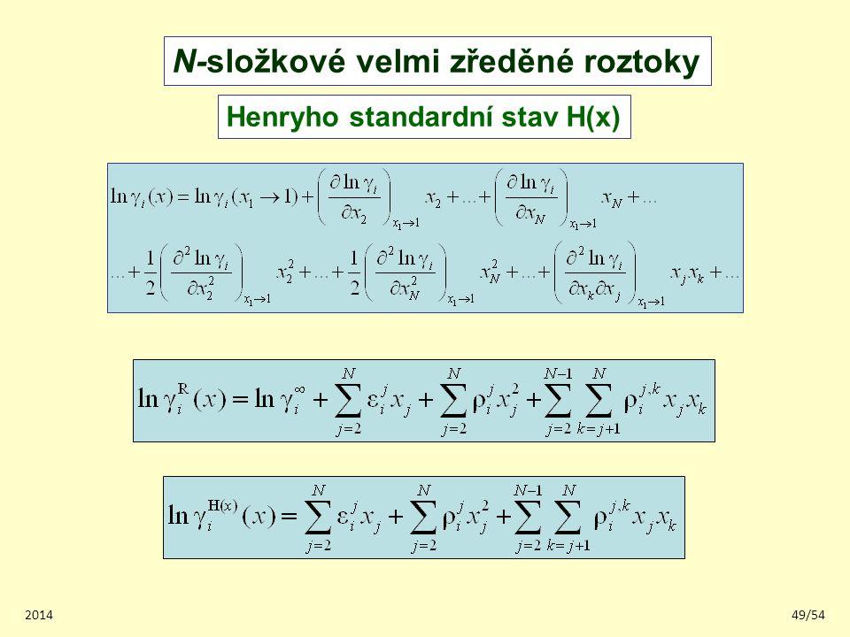 201449/54 N-složkové velmi zředěné roztoky Henryho standardní stav H(x)