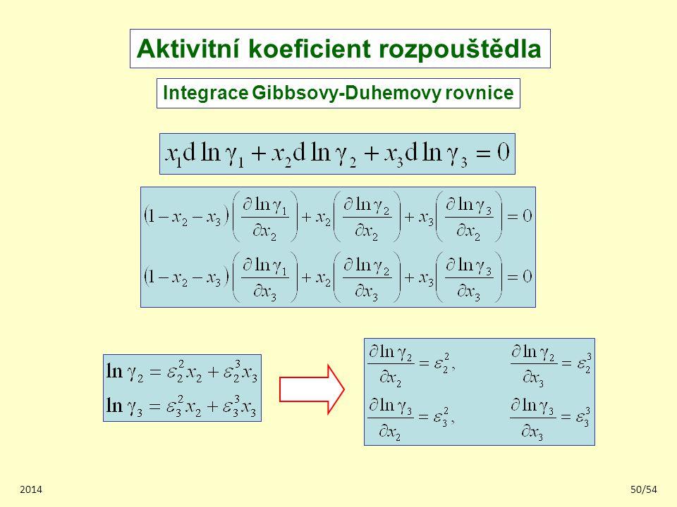 201450/54 Aktivitní koeficient rozpouštědla Integrace Gibbsovy-Duhemovy rovnice