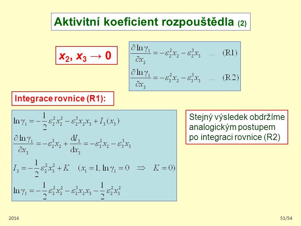 201451/54 Aktivitní koeficient rozpouštědla (2) x 2, x 3 → 0 Integrace rovnice (R1): Stejný výsledek obdržíme analogickým postupem po integraci rovnic