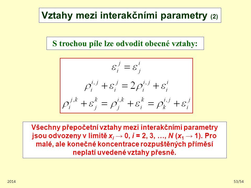 201453/54 Vztahy mezi interakčními parametry (2) S trochou píle lze odvodit obecné vztahy: Všechny přepočetní vztahy mezi interakčními parametry jsou