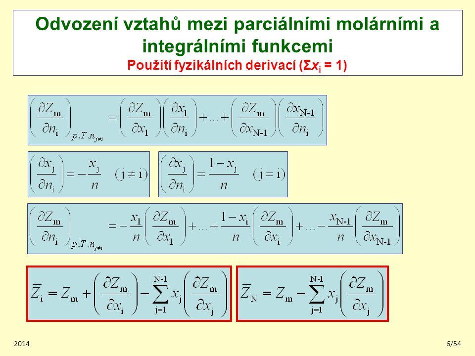 201427/54 Dodatková Gibbsova energie v ternárních systémech Metoda binárních příspěvků Základní myšlenka – vlastnost v ternárním systému určit na základě vlastností v třech binárních podsystémech.