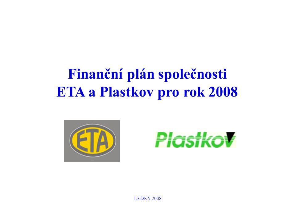 Finanční plán společnosti ETA a Plastkov pro rok 2008 LEDEN 2008