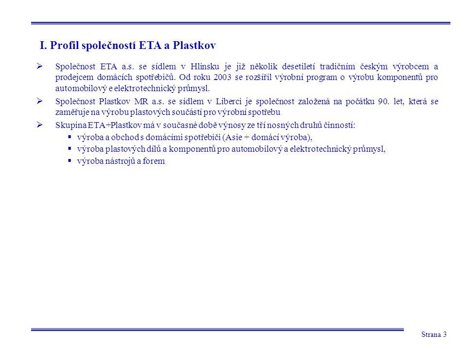 Strana 3 I. Profil společností ETA a Plastkov  Společnost ETA a.s. se sídlem v Hlinsku je již několik desetiletí tradičním českým výrobcem a prodejce