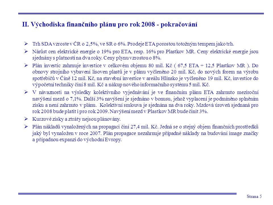 Strana 5 II. Východiska finančního plánu pro rok 2008 - pokračování  Trh SDA vzroste v ČR o 2,5%, ve SR o 6%. Prodeje ETA porostou totožným tempem ja