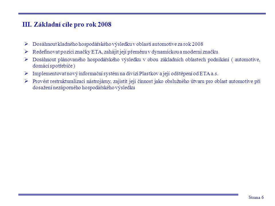 Strana 6 III. Základní cíle pro rok 2008  Dosáhnout kladného hospodářského výsledku v oblasti automotive za rok 2008  Redefinovat pozici značky ETA,