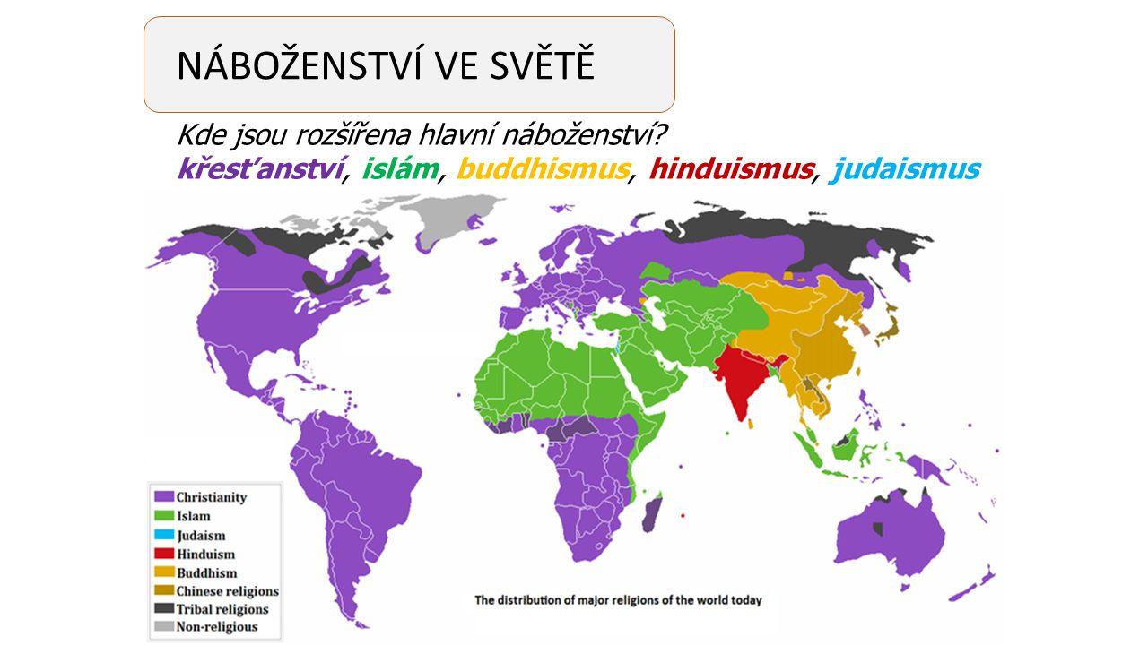 NÁBOŽENSTVÍ VE SVĚTĚ Kde jsou rozšířena hlavní náboženství? křesťanství, islám, buddhismus, hinduismus, judaismus