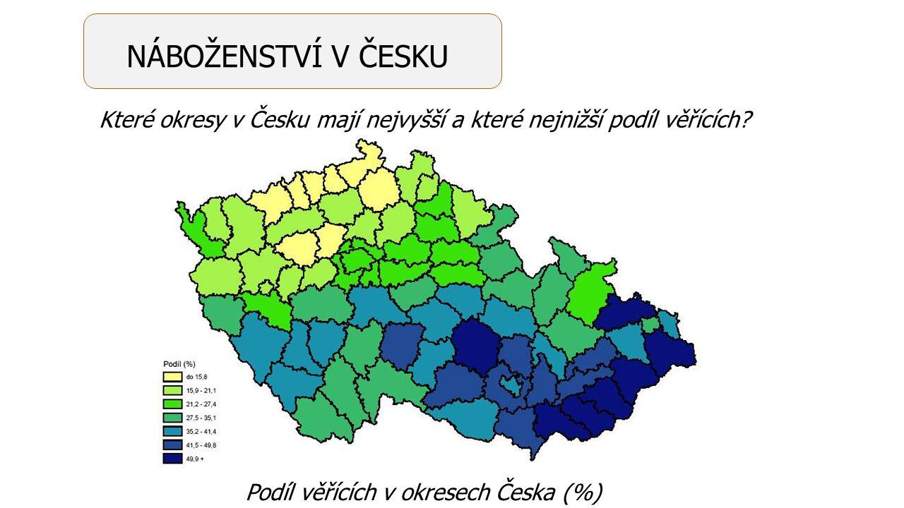 Podíl věřících v okresech Česka (%) Které okresy v Česku mají nejvyšší a které nejnižší podíl věřících? NÁBOŽENSTVÍ V ČESKU