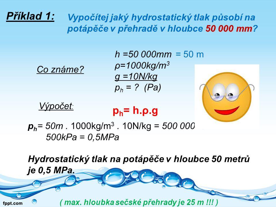 p h = 50m.1000kg/m 3.