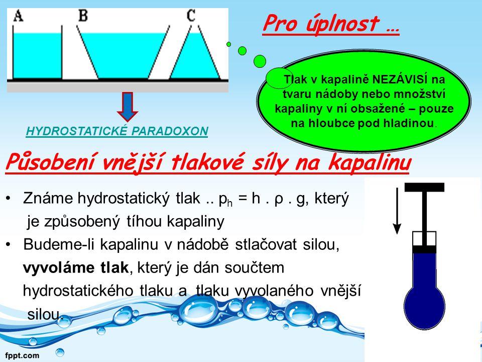 Známe hydrostatický tlak..p h = h. ρ.