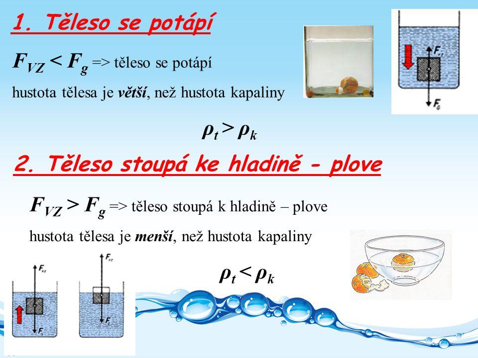 F VZ těleso se potápí hustota tělesa je větší, než hustota kapaliny ρ t > ρ k 1.
