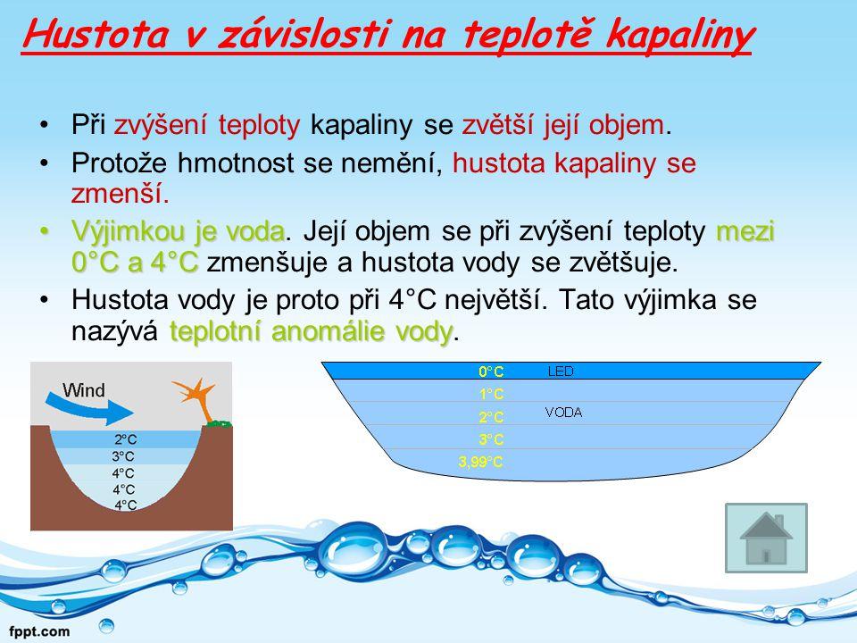 Hustota v závislosti na teplotě kapaliny Při zvýšení teploty kapaliny se zvětší její objem.