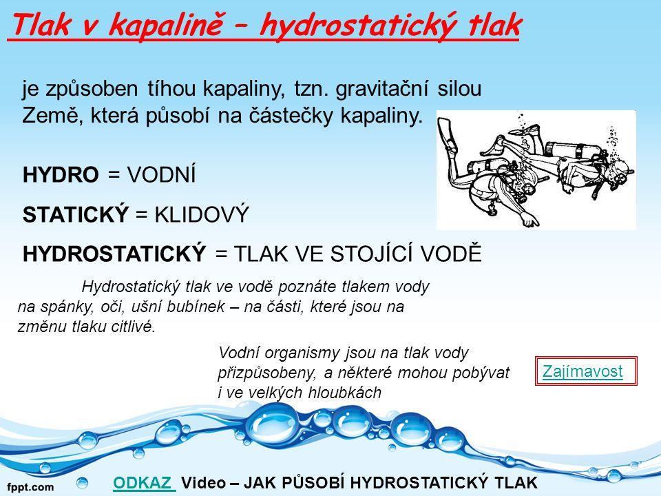 """Hydrostatická tlaková síla : –označujeme F h [F h ]=N V důsledku působení gravitace na částice kapaliny """"tlačí kapalina na své okolí."""