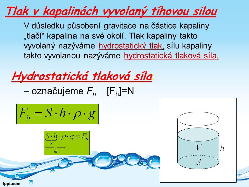 Jestliže využijeme znalostí o výpočtu tlaku : a za sílu F dosadíme hydrostatickou sílu F h Získáme vztah pro výpočet hydrostatického tlaku p h : vše zapíšeme ve tvaru zlomku, zkrátíme S Hydrostatický tlak - odvození vztahu: