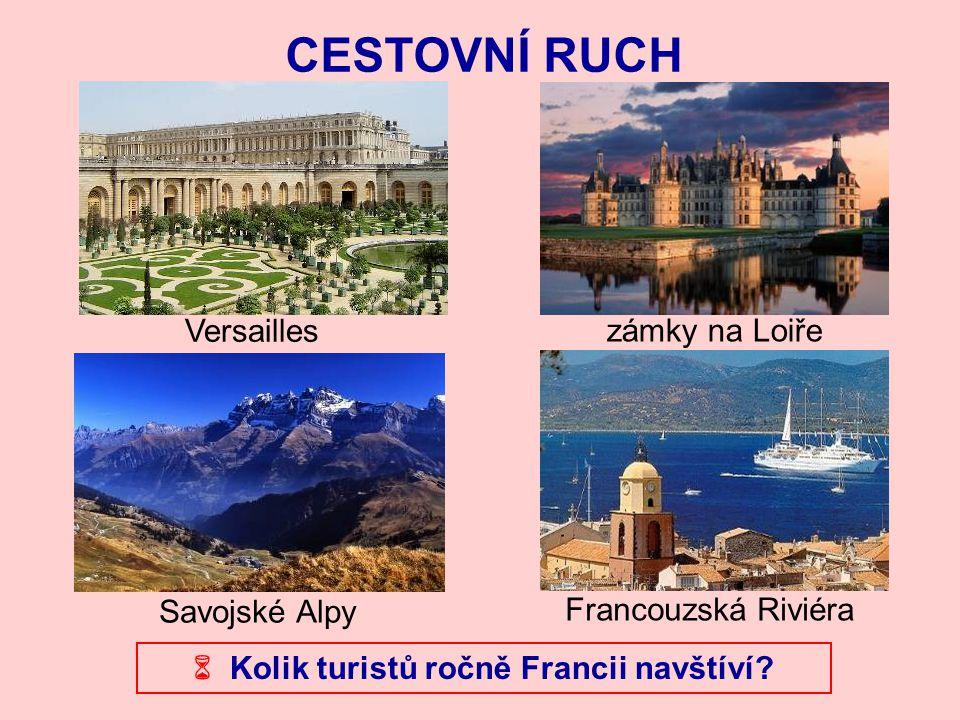 CESTOVNÍ RUCH Versailles Francouzská Riviéra Savojské Alpy zámky na Loiře  Kolik turistů ročně Francii navštíví?