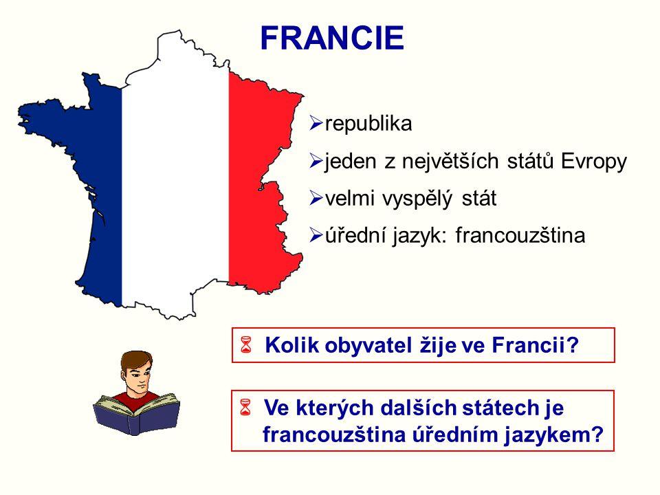  republika  jeden z největších států Evropy  velmi vyspělý stát  úřední jazyk: francouzština FRANCIE  Kolik obyvatel žije ve Francii?  Ve kterýc
