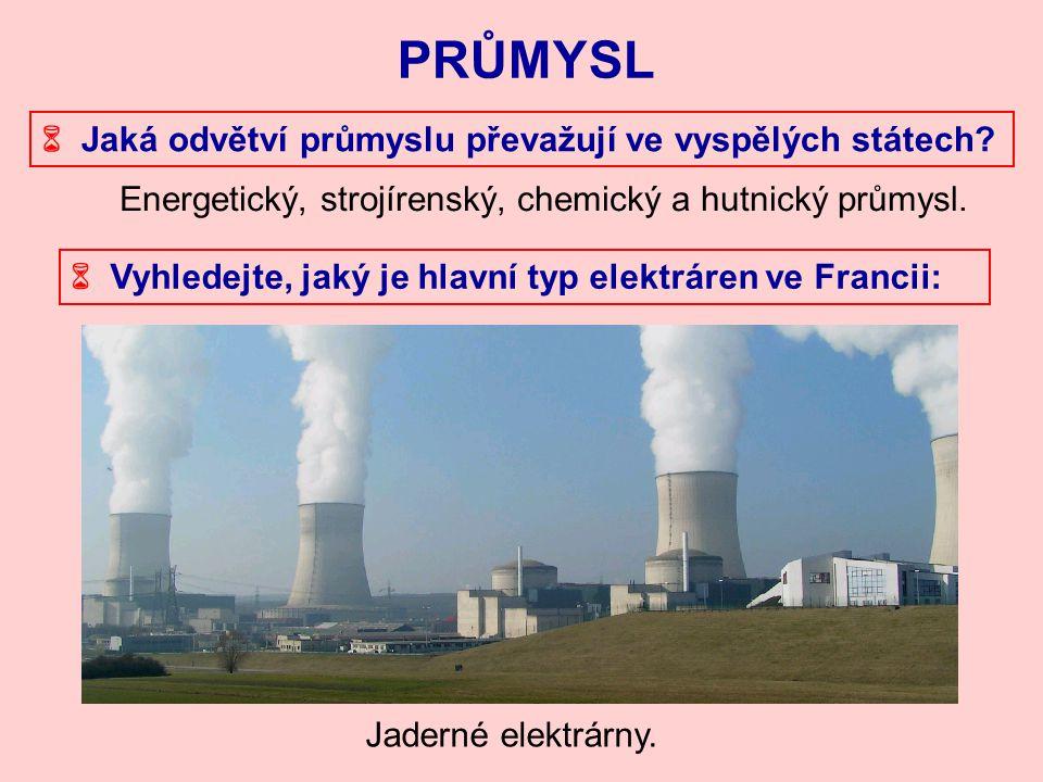 Energetický, strojírenský, chemický a hutnický průmysl. PRŮMYSL  Jaká odvětví průmyslu převažují ve vyspělých státech?  Vyhledejte, jaký je hlavní t