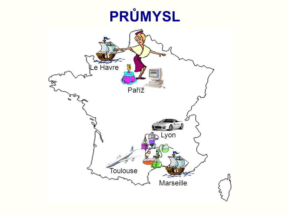 PRŮMYSL Paříž Toulouse Le Havre Marseille Lyon