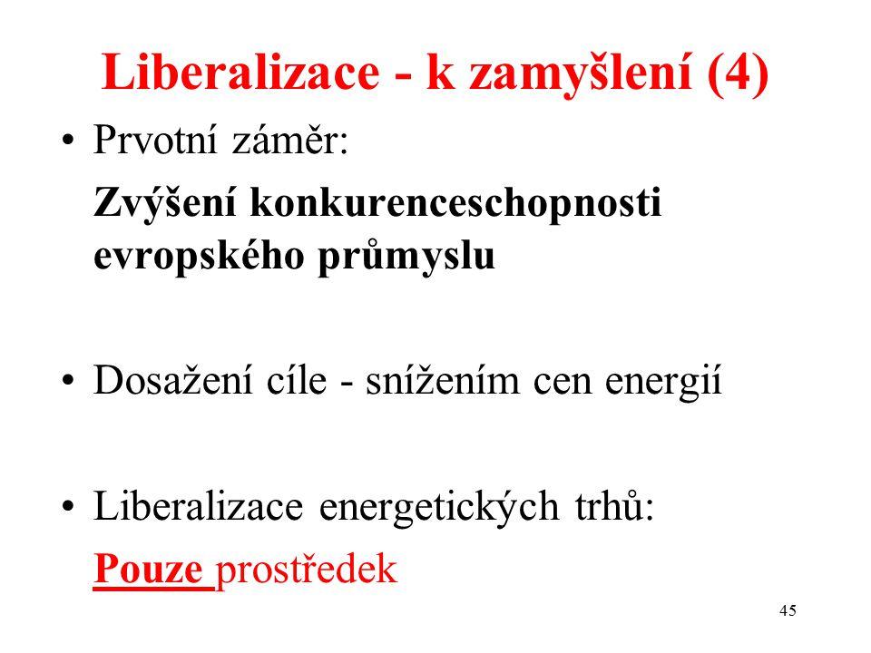 45 Liberalizace - k zamyšlení (4) Prvotní záměr: Zvýšení konkurenceschopnosti evropského průmyslu Dosažení cíle - snížením cen energií Liberalizace energetických trhů: Pouze prostředek