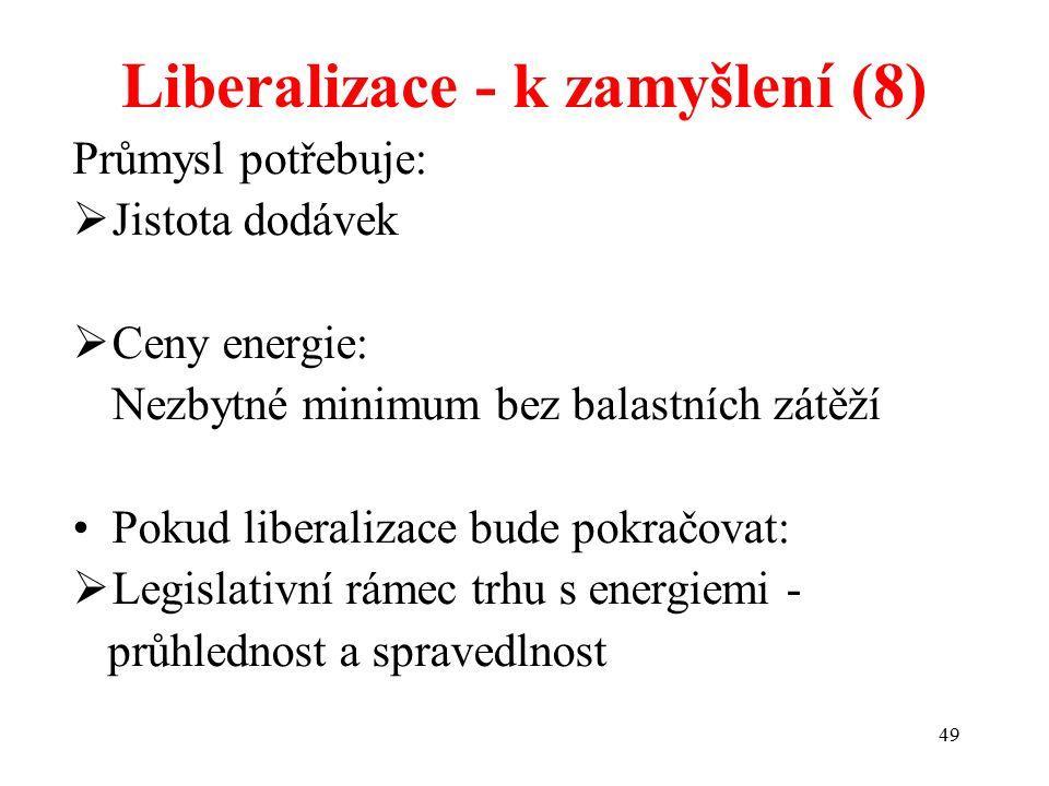 49 Liberalizace - k zamyšlení (8) Průmysl potřebuje:  Jistota dodávek  Ceny energie: Nezbytné minimum bez balastních zátěží Pokud liberalizace bude pokračovat:  Legislativní rámec trhu s energiemi - průhlednost a spravedlnost