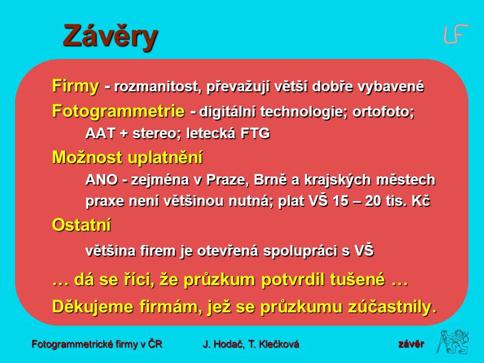 Fotogrammetrické firmy v ČR J. Hodač, T.