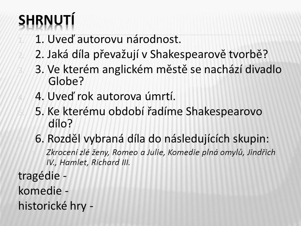 1. 1. Uveď autorovu národnost. 2. 2. Jaká díla převažují v Shakespearově tvorbě.