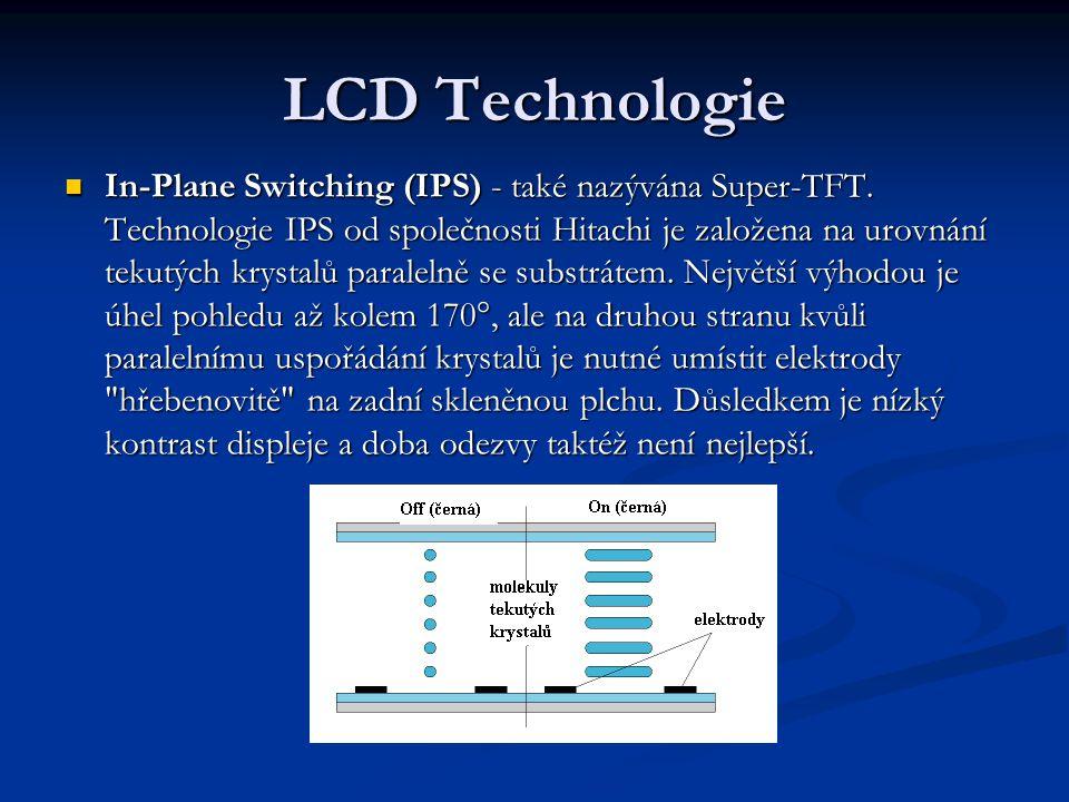 LCD Technologie In-Plane Switching (IPS) - také nazývána Super-TFT.