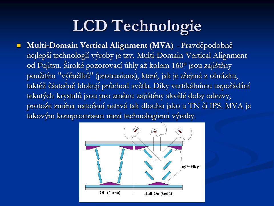 LCD Technologie Multi-Domain Vertical Alignment (MVA) - Pravděpodobně nejlepší technologií výroby je tzv.