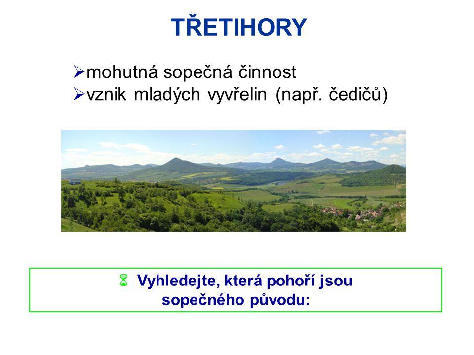TŘETIHORY  mohutná sopečná činnost  vznik mladých vyvřelin (např. čedičů)  Vyhledejte, která pohoří jsou sopečného původu: