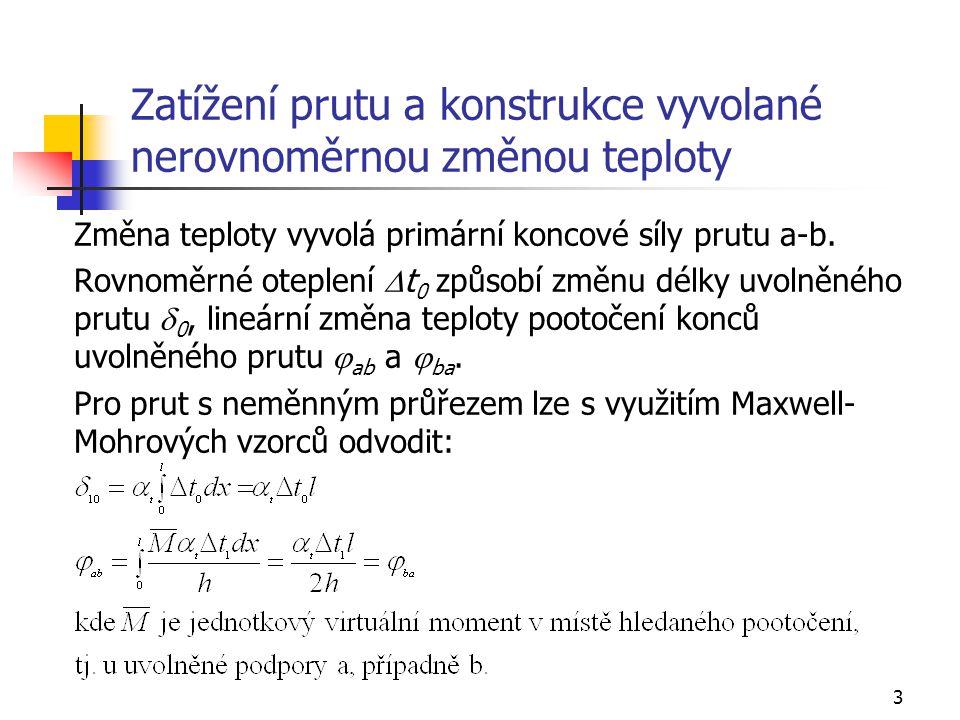 14 Příklad 4, zatížení změnou teploty, analýza prutu 1 (1 - 2) Lokální matice tuhosti