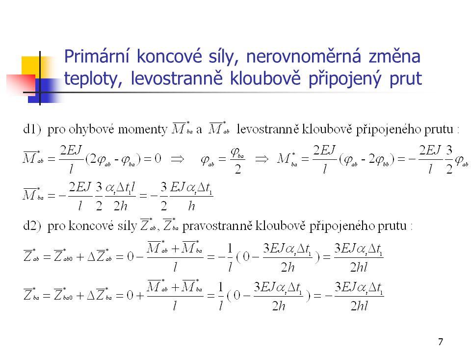58 Příklad 5, zatížení změnou teploty, průběh složek vnitřních sil – M -240,52 78,93 0 - + 1 2 1 2 3 2 3