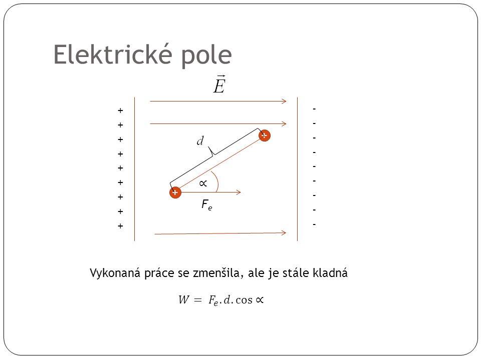 Elektrické pole ++++++++++++++++++ ------------------ + + FeFe Vykonaná práce se zmenšila, ale je stále kladná