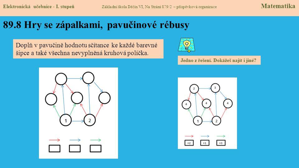 89.8 Hry se zápalkami, pavučinové rébusy Elektronická učebnice - I.