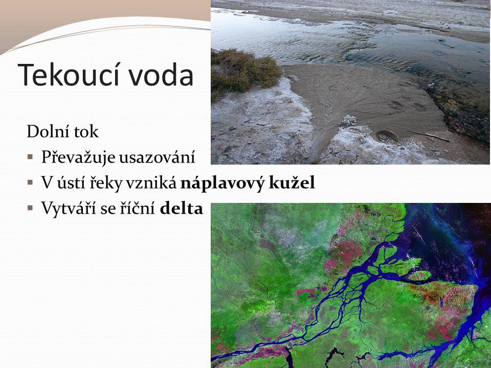 Tekoucí voda Dolní tok  Převažuje usazování  V ústí řeky vzniká náplavový kužel  Vytváří se říční delta