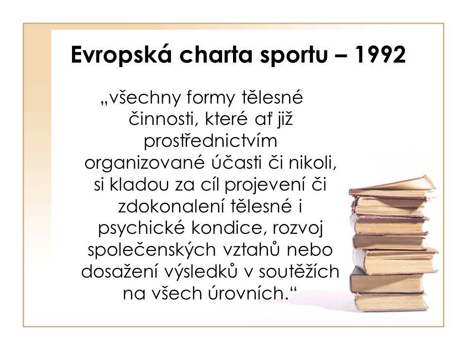 """Evropská charta sportu – 1992 """"všechny formy tělesné činnosti, které ať již prostřednictvím organizované účasti či nikoli, si kladou za cíl projevení či zdokonalení tělesné i psychické kondice, rozvoj společenských vztahů nebo dosažení výsledků v soutěžích na všech úrovních."""