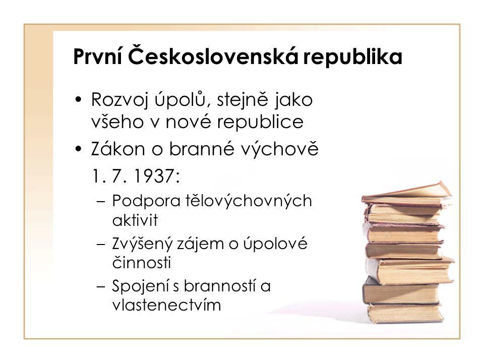 První Československá republika Rozvoj úpolů, stejně jako všeho v nové republice Zákon o branné výchově 1.